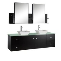 Virtu USA, Clarissa 72 in. Double Basin Vanity in Espresso with Glass Vanity Top and Mirror Cabinets with Wall Shelves, MD-409G at The Home Depot - Mobile
