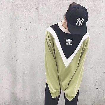 ¡®¡¯adidas¡®¡¯ Round Neck Blouse Pullover Black/Green