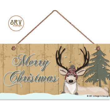 "Merry Christmas Sign, Rustic Decor, Deer, Snow, Pine Tree, Weatherproof, 5"" x 10"" Sign, Gift, Country Decor, Holiday Sign, Made To Order"