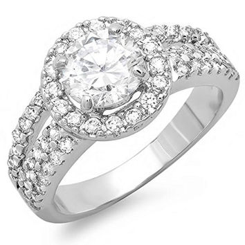 White Gold Cubic Zirconia Diamond Wedding Engagement Ring