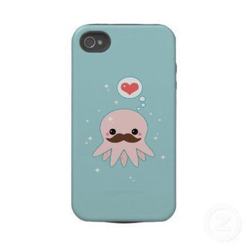 Kawaii Mustache Octopus Iphone 4 Tough Covers from Zazzle.com