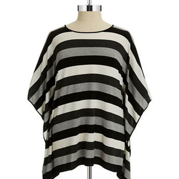 Vince Camuto Signature Plus Striped Poncho Top