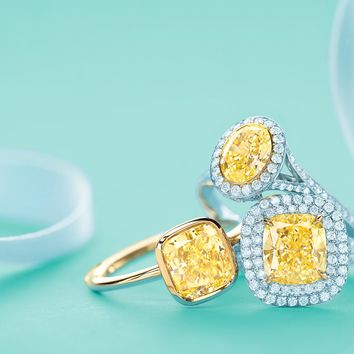 Tiffany & Co. - Tiffany Soleste® yellow and white diamond ring in platinum and 18k gold.