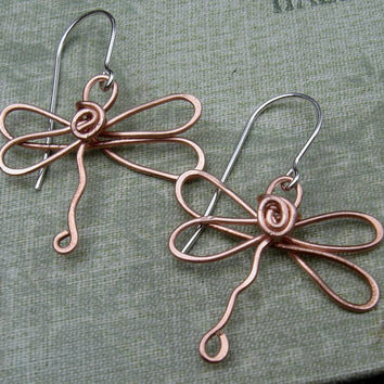 Copper Dragonfly Earrings - Dragonfly Jewelry - Copper Wire - Copper Earrings, Women, Copper Jewelry