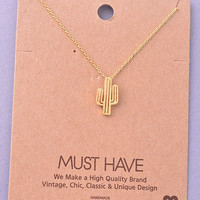Cactus Pendant Necklace - Gold