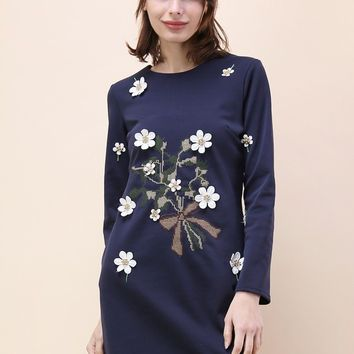 Bouquet For You Embroidered Dress in Navy