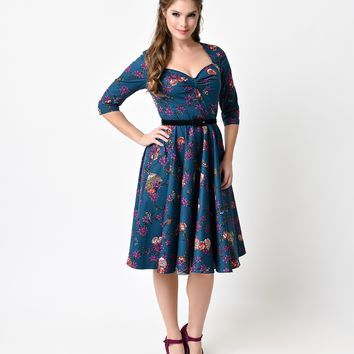 Hell Bunny 1950s Style Teal Woodland Floral Belted Swing Dress