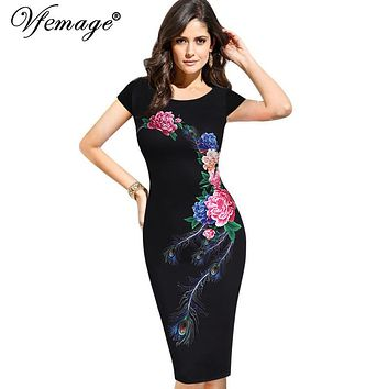 Vfemage Womens Elegant Vintage Summer Floral Flower Peacock Printed Slim Pinup Casual Party Evening Sheath Bodycon Dress 3035