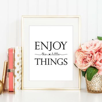 Enjoy The Little Things Nursery Canvas Painting Black And White Wall Art Poster Print Nordic Picture Kids Baby Room Home Decor