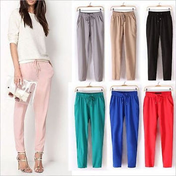 2016 Summer bestselling Pants thin Plus Size Women Pants Casual Harem Pants Drawstring Elastic Waist Pants Women Trousers