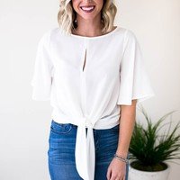 Give Me More Tie Front Top - White