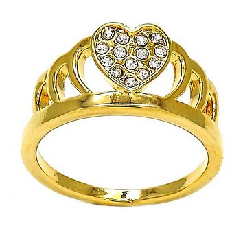 Gold Layered Multi Stone Ring, Crown and Heart Design, with Crystal, Golden Tone