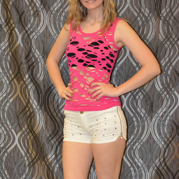 Fabric & fabric sleeveless style tank with cut outs Young Adults