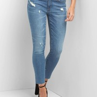 Washwell mid rise distressed true skinny ankle jeans | Gap
