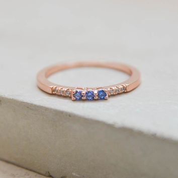 Eternity Ring w/ 3 Blue Stones - Rose Gold