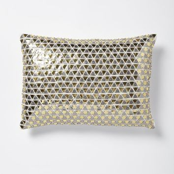 Triangle Sequins Pillow Cover - Gold/Silver