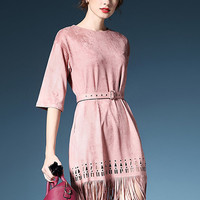 Peach Suedette Laser Cut Half Sleeve Belt Waist Fringed Dress