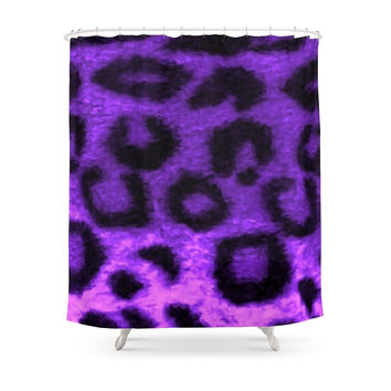 Society6 Spotted Leopard Purple Shower Curtain