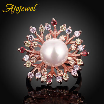 Luxury Elegant Ajojewel 18K Rose Gold Plated Pearl & Color Womens Cubic Zirconia Flower Ring Valentine's Day Mother's Day Gift