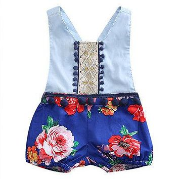 Retro Style Newborn Infant Baby Girl Floral Patchwork V-Neck Romper Back cross Jumpsuit Sun-suit Outfits Clothes 0-24M