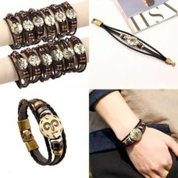 ac NOVQ2A Vintage Retro bronze 12 Constellations Leather buckle Bracelet Personality Alloy Unisex Bracelet Jewelry