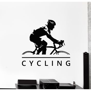 Vinyl Wall Decal Bicycle Race Cycling Cyclist Bike Sport Stickers Mural (g749)