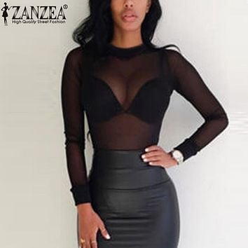 ZANZEA 2017 Sexy Women Blouses See Through Transparent Mesh Stand Neck Long Sleeve Sheer Blouse Shirt Ladies Tops Tee Plus Size