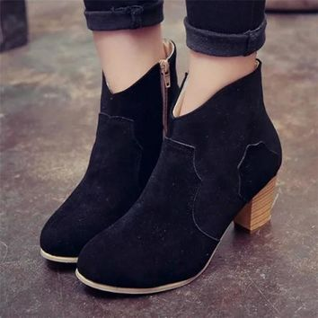 Women Short Cylinder Boots High Heels Boots Shoes Woman High Quality Autumn Winter Ankle Martin Boots botas ug australia mujer
