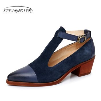 Women Genuine leather yinzo designer vintage Pumps shoes pointed toe handmade blue oxford shoes