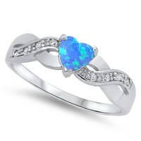 Sterling Silver CZ Lab Blue Opal and Simulated Diamond Infinity Heart Fusion Ring 5MM