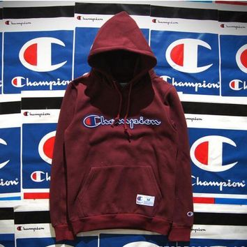 ICIKID4 Champion Hooded men and women who dress thickening couple costume Wine red