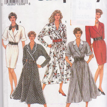 Pattern for pullover, wrap front dress with straight or flared skirt, short or long kimono sleeves misses size 6 8 10 Simplicity 8114 UNCUT