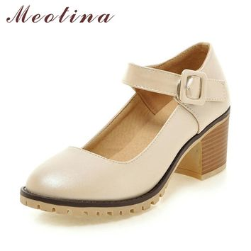 Meotina Shoes Women Round Toe Autumn Pumps Chunky High Heels Mary Janes Causal Ladies Shoes Thick Heels White Beige Black 34-43