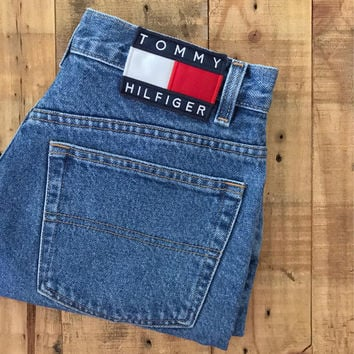 "Waist 28"" Tommy Hilfiger Shorts/Vintage Tommy Hilfiger/90s shorts/Levi High Waisted Denim Shorts/Jean Shorts/Cutoff Shorts"