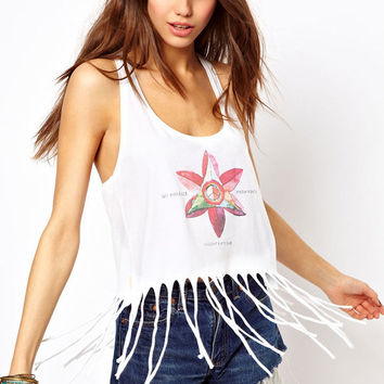 White Floral Print Racer Back Fringed Tank Top