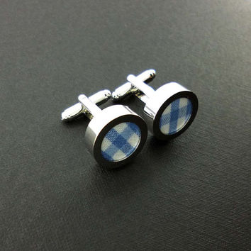 Mens gingham cuff links - 2nd cotton anniversary gift – groom or groomsmen blue and white wedding cufflinks present – mans accessories
