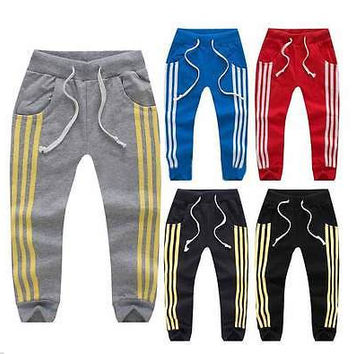 New Kids Boys Girls Three Stripes pants Jogging Bottoms Tracksuit Joggers 1-6Y