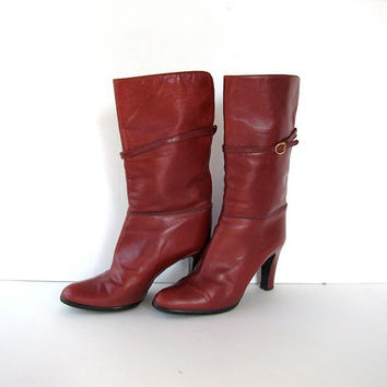 80s red leather boots. tall leather boots. high heel boots.