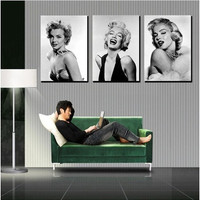 New Promotion 3 Panel Moderm Romantic Home Canvas Decoration Painting Combinative Marilyn Monroe Picture Wall Hunging