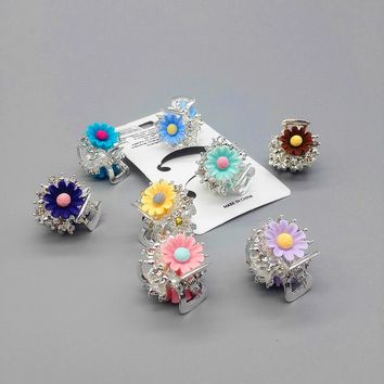 2PCS Flower small Hair Claw Clip Crystal Hairpin Accessories for Women Girl Lady Hairpin Barrette Crab hair jaw clip headwear W7