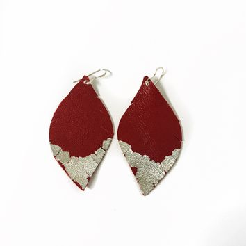 Three Little Indians Earrings - Small Red | Silver Leaf