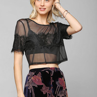 Pins And Needles Lacey Sheer Top  - Urban Outfitters