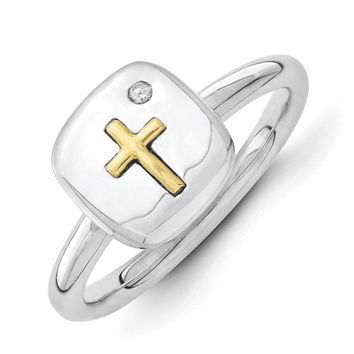 Sterling Silver & 14k Gold Cross Stackable .015ct I3 H-I Diamond Ring
