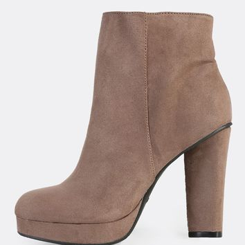 Solid Ankle Heel Booties TAUPE