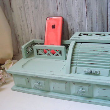 Mint Green Jewelry Box, Pastel Green Vintage Wooden Jewelry Valet, Distressed Desktop Jewelry Holder, Shabby Chic, Cottage Chic, Gift Ideas