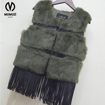 2017 New fashion women real rabbit fur vest with tassel lady knitted natural rabbit fur coat good quality lose sale