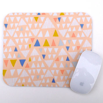 Mouse Pad / Modern Triangle / Home Office Decor / Peach White Blue Mousepad