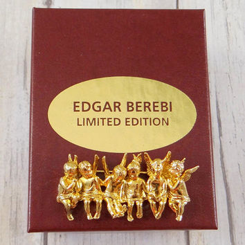 Edgar Berebi Brooch, Angels All In A Row, Original Box and Certificate