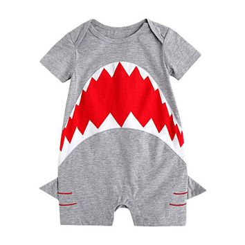 Baby Cotton Romper Newborn Infant Boys Girls Clothing 3D Shark Summer Rompers  New Arrival Fashion Jumpsuit