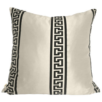 GreekClass Decorative Pillow Covers Collection Off-White, Square Set of 2.